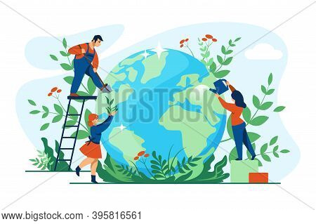 Planet Ecology Concept. Cartoon People Taking Care Of Globe And Environment. Men And Women Planting