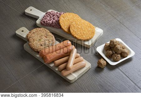 Display Of Plant Based Vegetarian Meat Products For A Plant Based Diet On A Wooden Table, , Veggie B