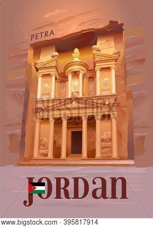 Ancient City Of Petra, Jordan. Al Khazneh - The Treasury. Tourist Attraction. Vector Illustration