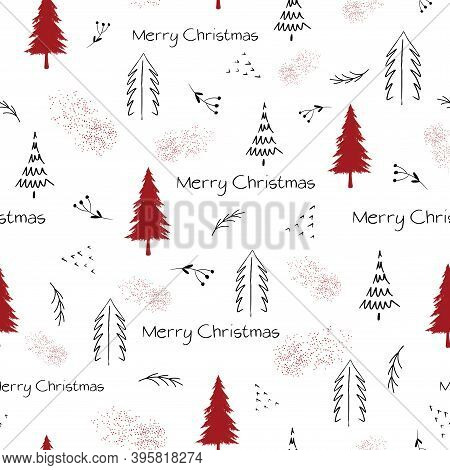 Merry Christmas Pattern In Black And Red With Text And Christmas Trees On White Background. Seamless