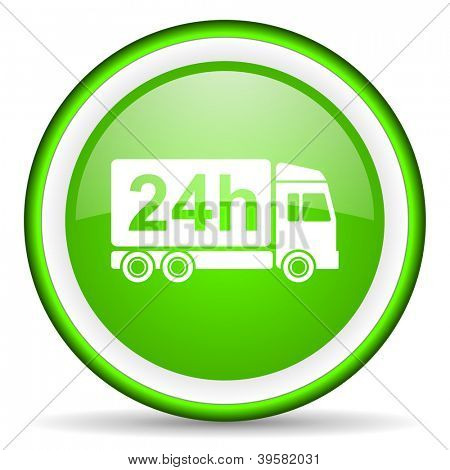 delivery 24h green glossy icon on white background
