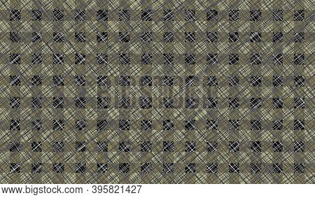 Green Black Olive Gray Checkered Background With Blur, Gradient And Grunge Texture. Classic Checkere