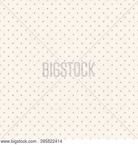 Vector Minimalist Seamless Pattern With Small Stars, Tiny Crosses, Dots. Simple Black And White Mini