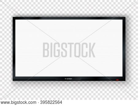 Digital Tv, Modern Blank Lcd Screen, Display, Panel. Wall Mounted Wide Plasma Black Led Tv Isolated