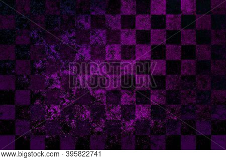 Purple Black Pink Lilac Violet Checkered Background With Blur, Gradient And Grunge Texture. Classic