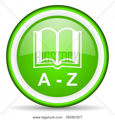 dictionary green glossy icon on white background