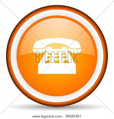 telephone orange glossy circle icon on white background