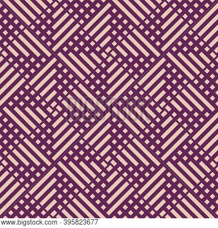 Abstract Vector Geometric Seamless Pattern With Squares, Lines, Grid, Net. Simple Purple And Beige G
