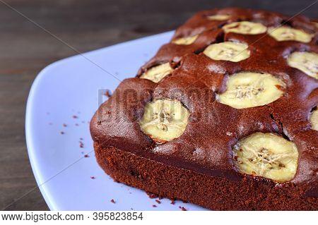 Closeup A Delectable Homemade Wholemeal Chocolate Banana Cake