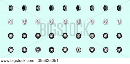 Set Of Tractor Tires. Cartoon Icon Design Template With Various Models. Modern Vector Illustration I