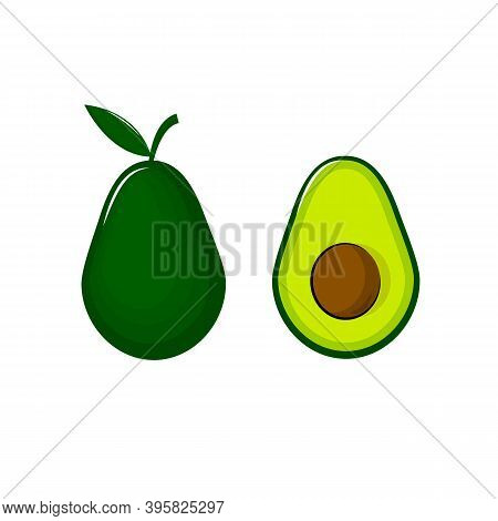 Vector Avocado Isolated On White Background. Whole And Cut In Half Avocado With Pit.