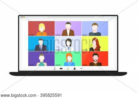 Video Conference On The Laptop Screen. Beautiful Avatars For Profiles. Illustrations Flat Design Con