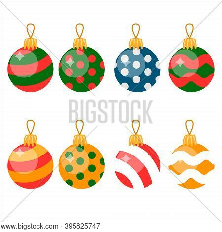 Set Of Isolated Flat Christmas Decorations. Christmas Balls. Flat Vector Illustration.