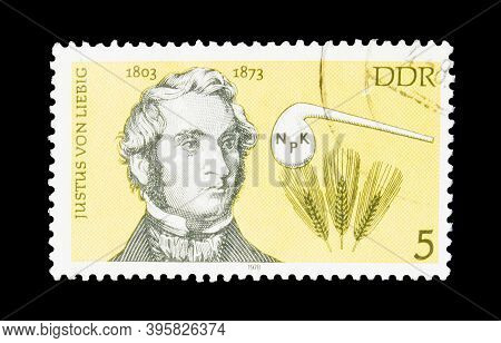 East Germany - Circa 1978 : Cancelled Postage Stamp Printed By East Germany, That Shows Chemists Jus