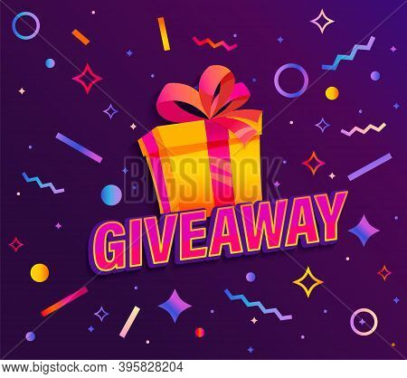 Giveaway Banner, Win Poster With Giftbox With Prize To Winner On Background With Abstract Geometric