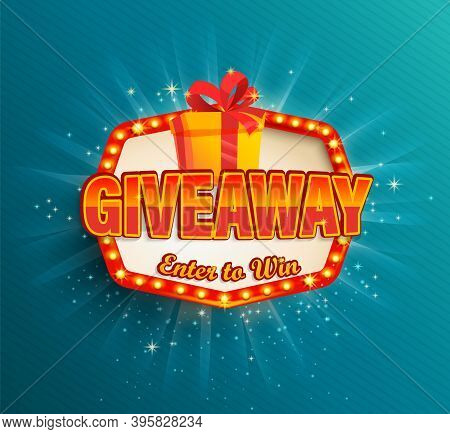Giveaway Banner, Win Poster With Giftbox With Prize To Winner In Retro Light Frame With Glowing Lamp