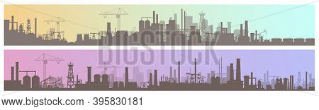 Industry, Manufacture Landscapes Vector Illustrations, Cartoon Flat Urban Industrial Site Or Zone Wi