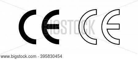 Ce Mark, Ce Symbol Isolated On White Background. Vector Illustration.