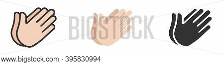 Clapping Hands Icon, Applause Icon. Set Of Vector Illustrations Of Symbol Isolated On White Backgrou
