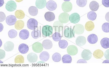 Seamless Polka Dots Pattern. Watercolor Circles Repeat. White Party Confetti. Trendy Paint Paper. Ch