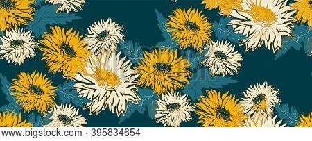 Seamless Pattern With Silhouette Chrysanthemum Flowers In Full Bloom. Freehand Floral Ornate Vector