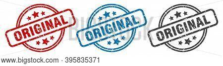 Original Stamp. Original Round Isolated Sign. Original Label Set