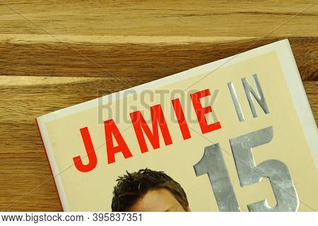 Zaandam, The Netherlands - November 21, 2020: Part Of Jamie Oliver In 15 Minutes Book Cover On A Woo