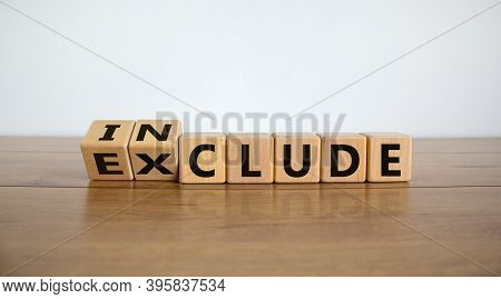 Symbol For A Better Inclusion. Inverted Cube And Changed Word Exclude To Include. Beautiful Wooden T