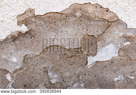 The Wall Of The Building, Which Gradually Began To Collapse. Old Building. Cracked, Superficial, Dee