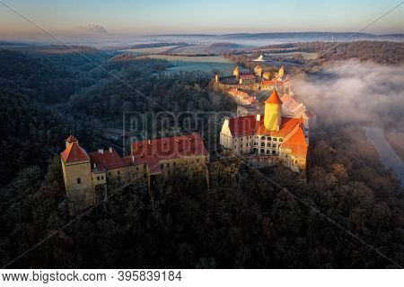 Aerial View Of The Chapel Of The Moravian Royal Castle Veveri (burg Eichhorn), Standing On A Rock Ab