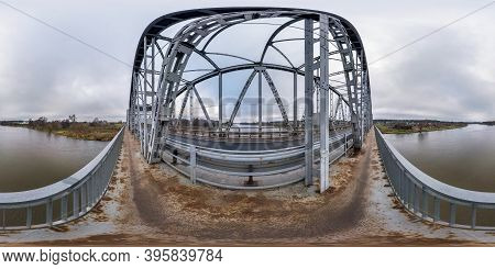 Full Seamless Spherical Hdri Panorama 360 Degrees Angle View On Steel Frame Construction Of Huge Bri