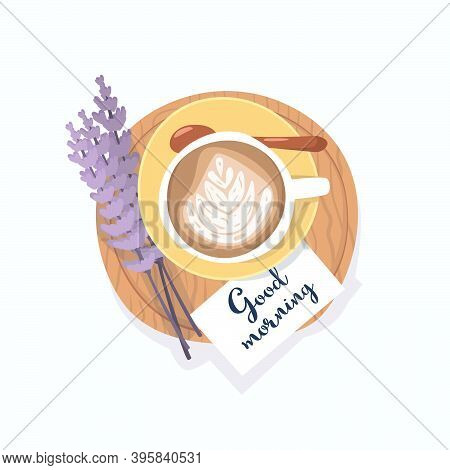 Flat Vector Illustration Of A Coffee Cup With A Foam Pattern Standing On A Wooden Tray With A Note G