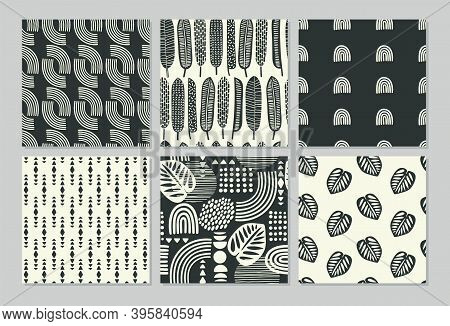 Artistic Seamless Patterns With Abstract Leaves And Geometric Shapes