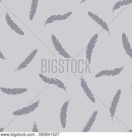 Lilac Feathers Seamless Pattern On Blue Background.