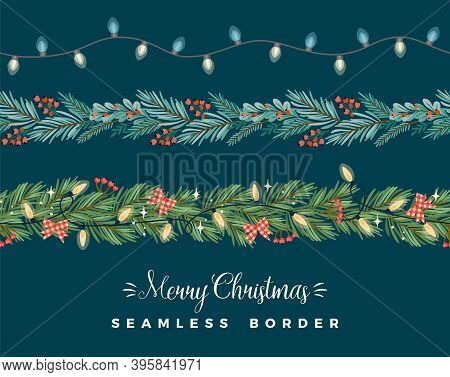 Christmas And Happy New Year Seamless Borders. Garlands, Needles, Light Bulbs, New Year Symbols. Vec