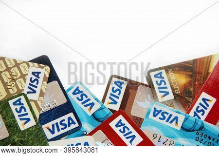 Chernihiv  / Ukraine - 08 February 2020 / Ukraine:  Credit Cards Of Visa With Copy Space. Credit Car