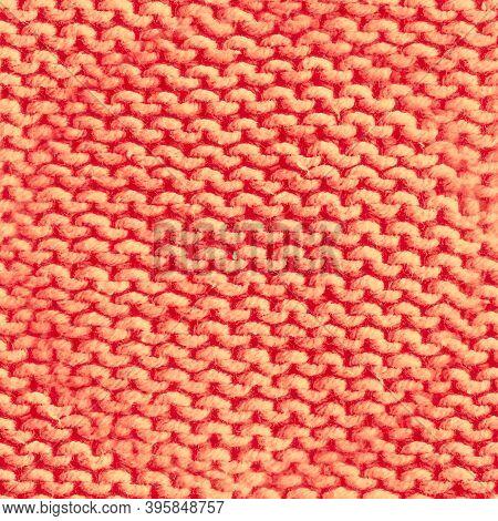 Seamless Scandinavian Knitting. Jacquard Repeat. Orange Knit Thread. Vintage Christmas Decor. Holida
