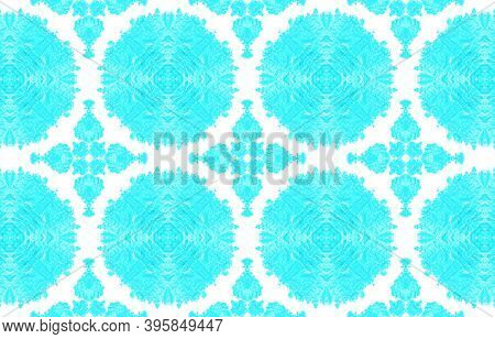 Seamless Tie Dye Pattern. Blue And White Colors. Watercolour Tie Dye Background. Ink Textured Aquare