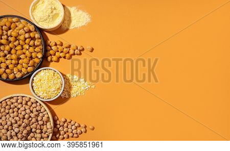 Raw And Cooked Chickpeas, Chickpea Flour And Flakes Ceramic Plate Bowl Isolated On Beige Banner Oran