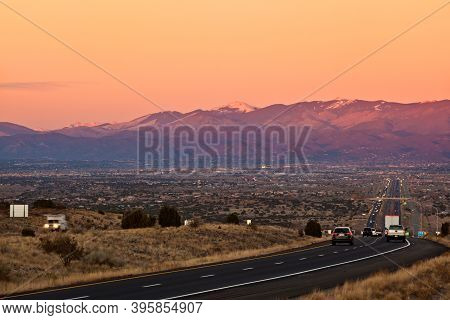 Santa Fe, New Mexico At Sunset Photographed From La Bajada