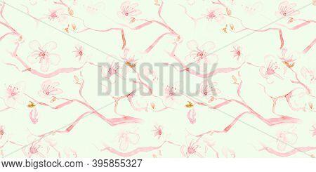 Watercolor Cherry Blossom. Seamless Apple Illustration. Japan Branch Pattern. Pastel Modern Soft Pai