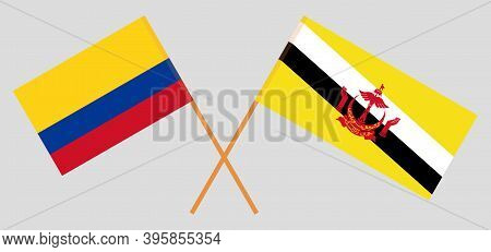 Crossed Flags Of Brunei And Colombia. Official Colors. Correct Proportion. Vector Illustration