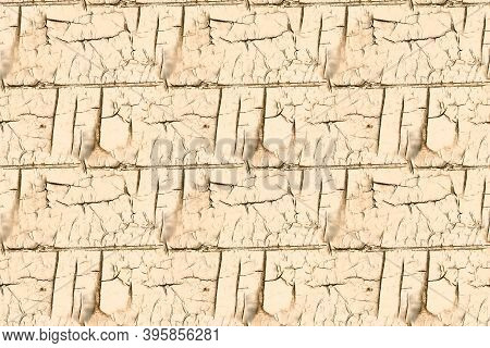 Material Texture. Brown Painted Cracked Pattern. Antique Rough Stencil. Distress Wood Illustration.