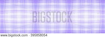 White Flannel Checks. Watercolor Tartan Border. Abstract Textured Background. Seamless Flannel Check