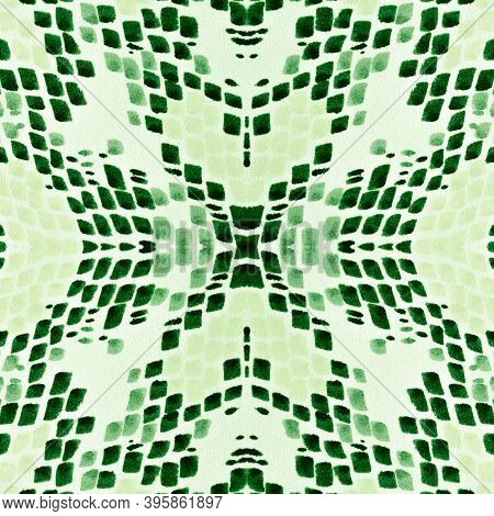 Seamless Predator Pattern. Serpent Leather Wild Surface. Jungle Exotic Wallpaper. Green Color Rappor