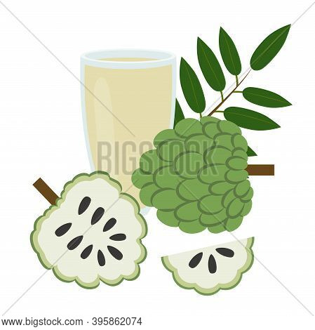 A Glass Of Annona Juice. Healthy Food. Vector Illustration Eps.