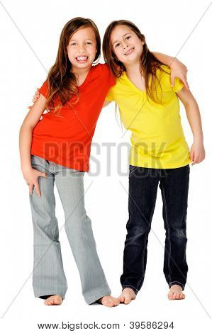 cute adorable children having fun together with bright colorful t-shirts isolated on white background