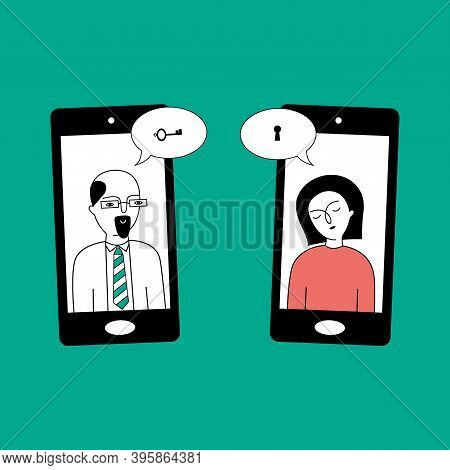 The Psychologist Conducts Therapy With The Patient Over The Phone. The Psychologist Helps The Patien