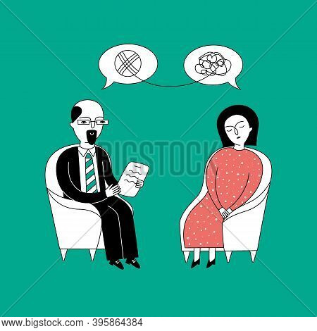A Woman Sits In A Chair At A Psychologist's Appointment. The Psychologist Helps The Patient Get Out