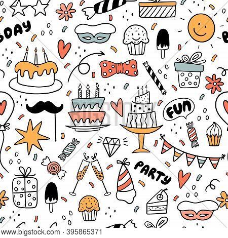 Seamless Pattern With Colorful Doodles With Sun, Cake, Ice Cream, Candies, Arrows, Flowers.it Can Be